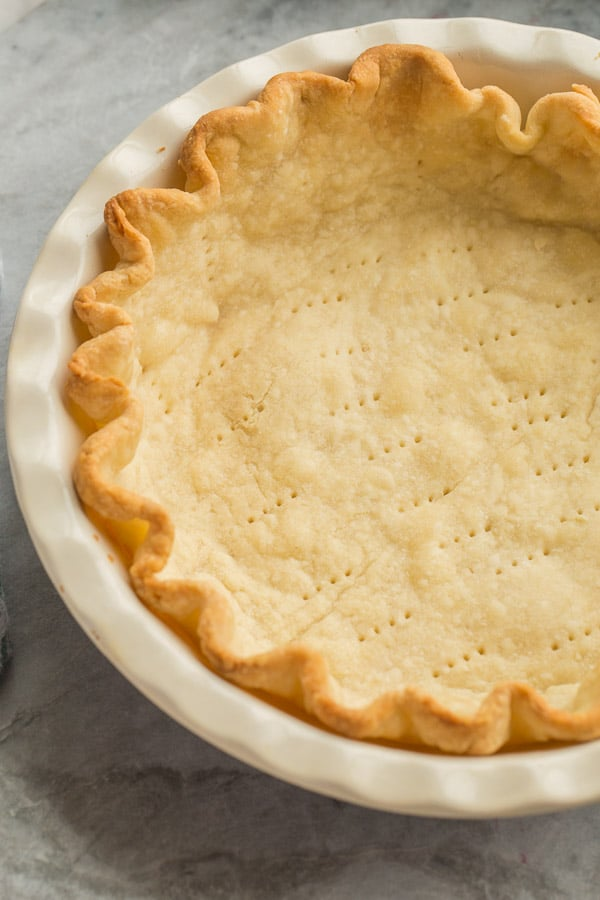 close up image of blind baked pie crust
