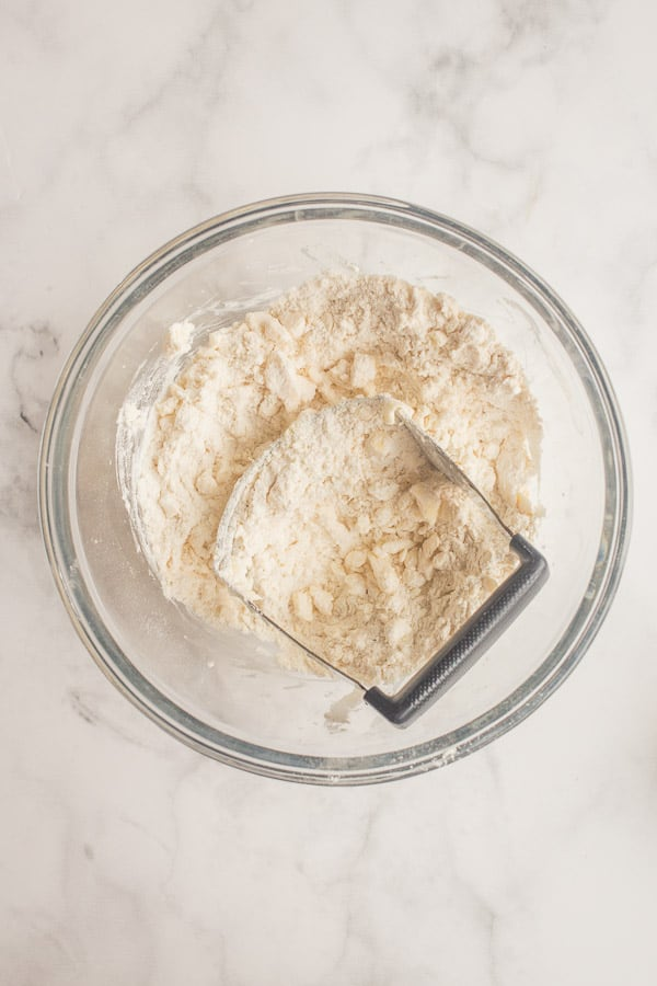 cold butter crumbled into dry ingredients for pie crust