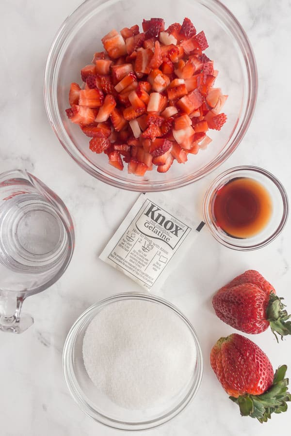 overhead image of ingredients for strawberry pie