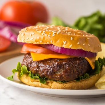 air fryer burger on bun with toppings