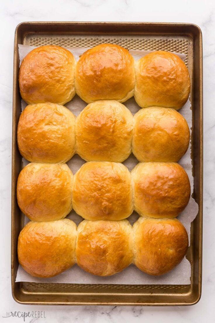 overhead image of brioche buns on baking sheet