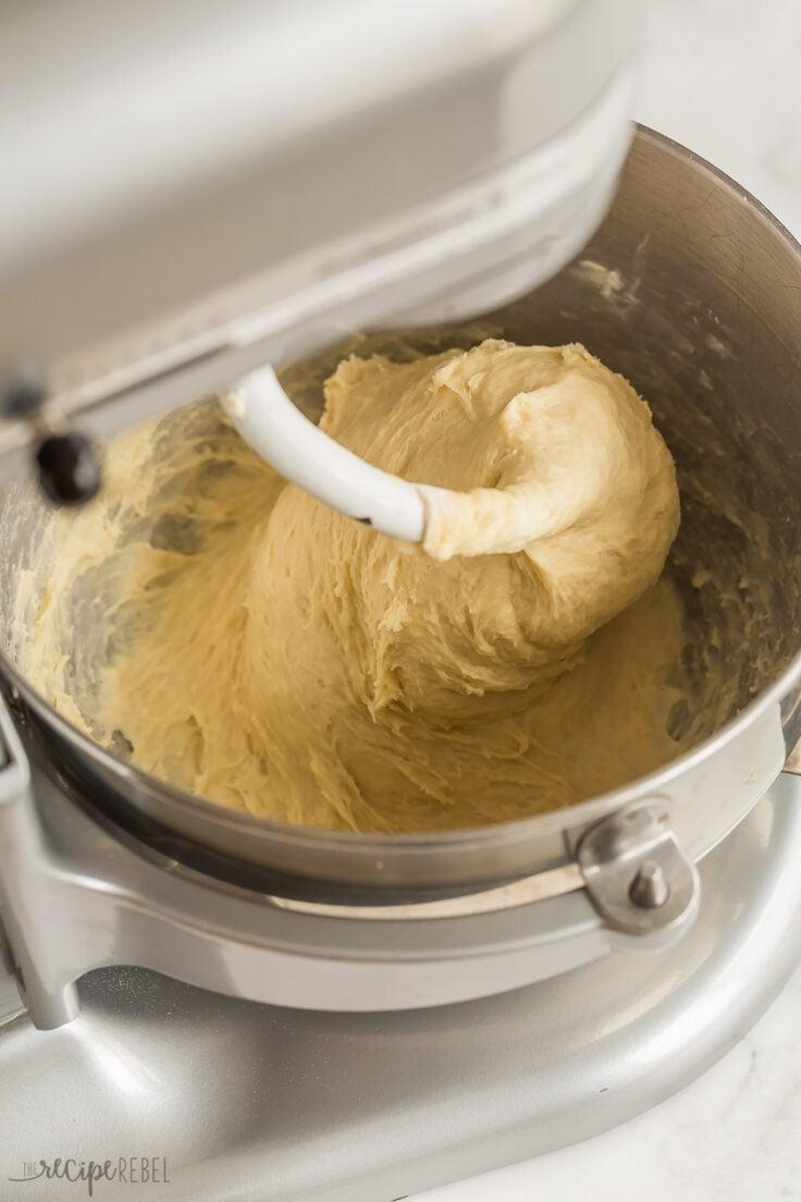 finished brioche bun dough in mixer