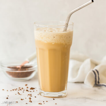 square image of iced coffee frappe recipe in glass