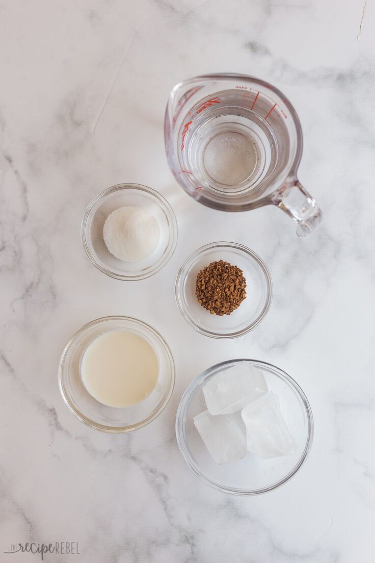 overhead image of coffee frappe ingredients
