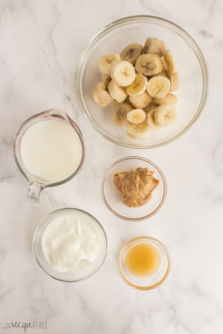 overhead image of peanut butter banana smoothie ingredients