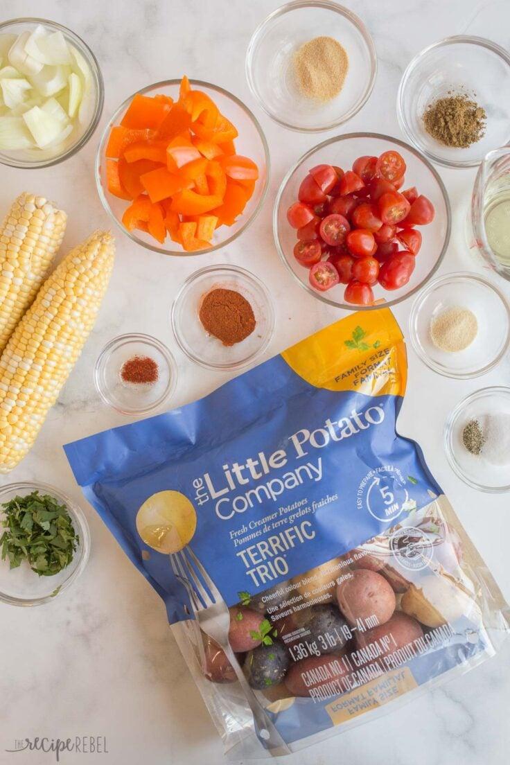 overhead image of ingredients for southwest potato salad