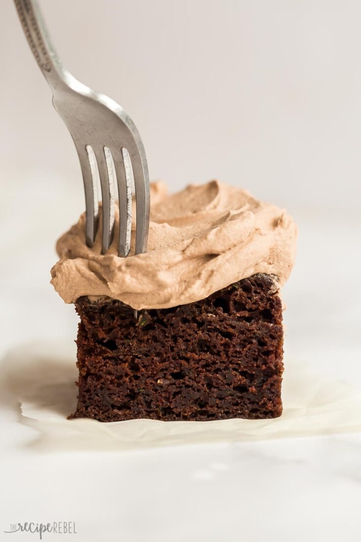 piece of chocolate zucchini cake with fork sticking in