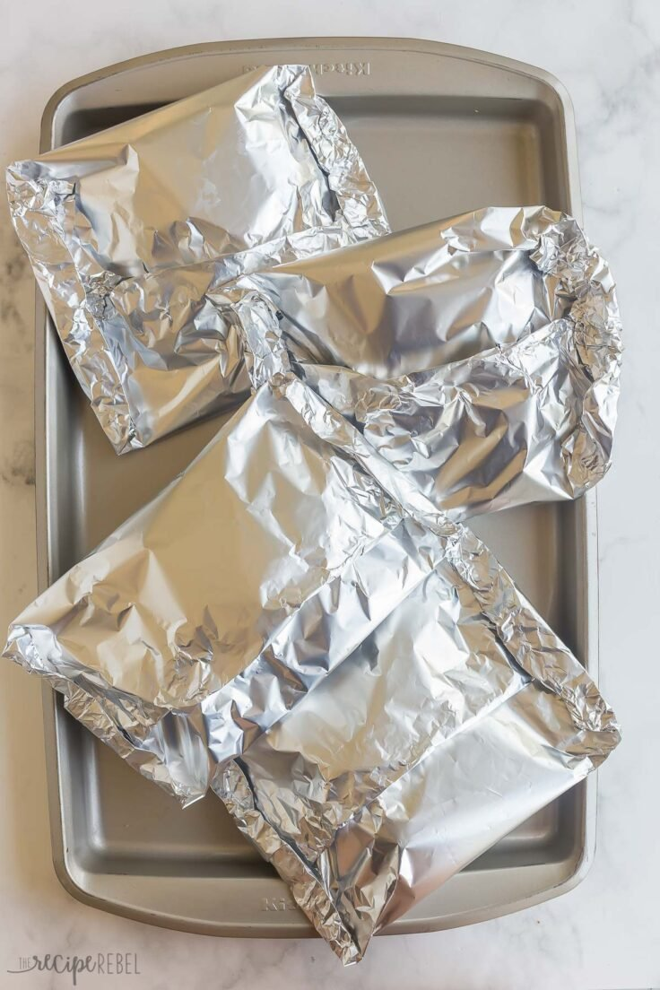 four foil packets wrapped up