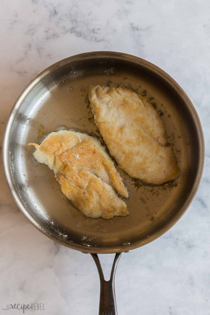 brown chicken breasts on each side