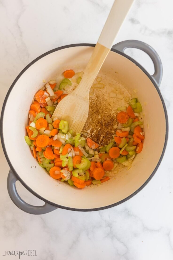cooking vegetables in pot in bacon fat