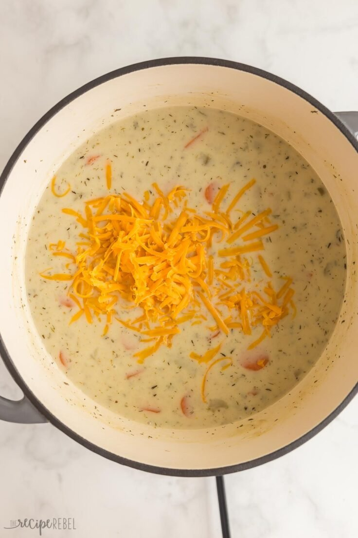 thickened milk and cheddar cheese added to potato soup