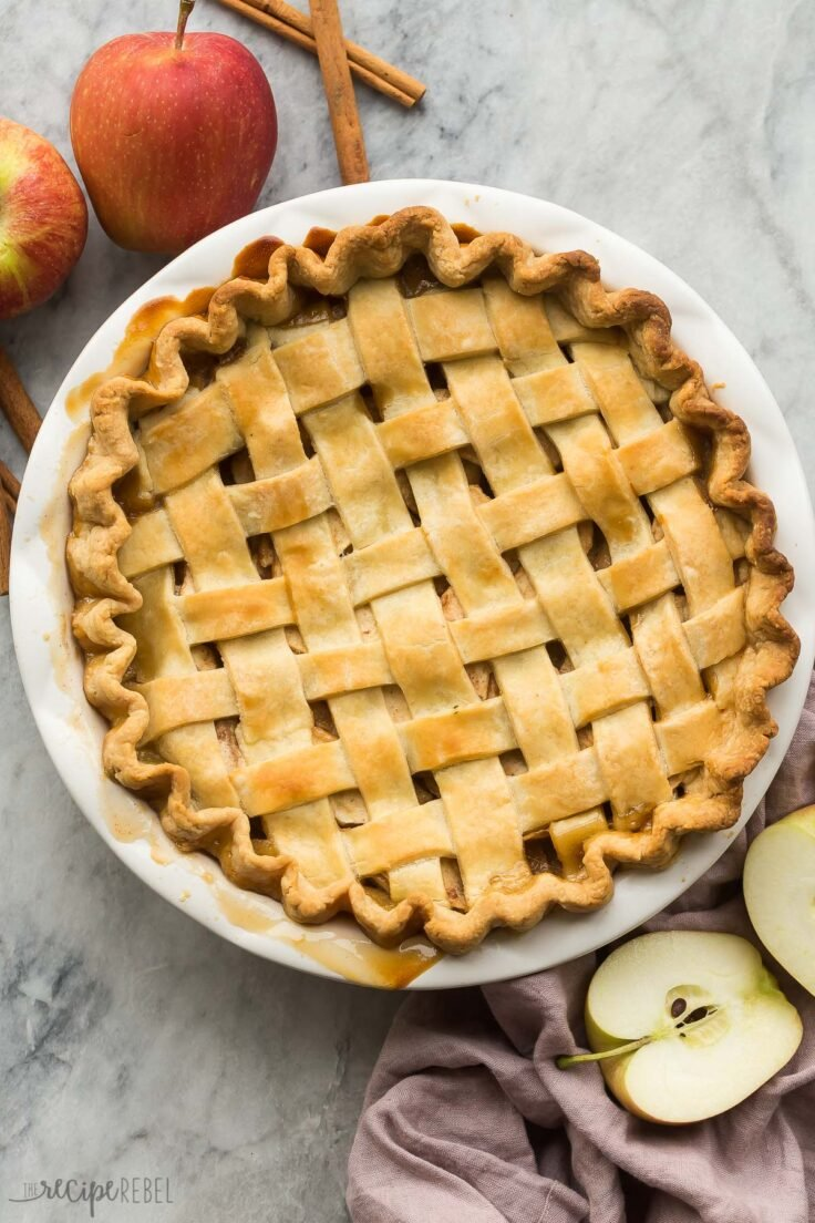 overhead image of whole apple pie