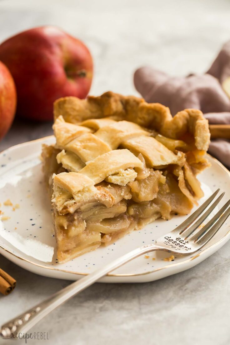 slice of apple pie on a white plate
