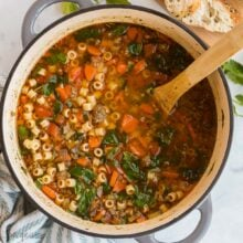 overhead square image of italian sausage soup in pot