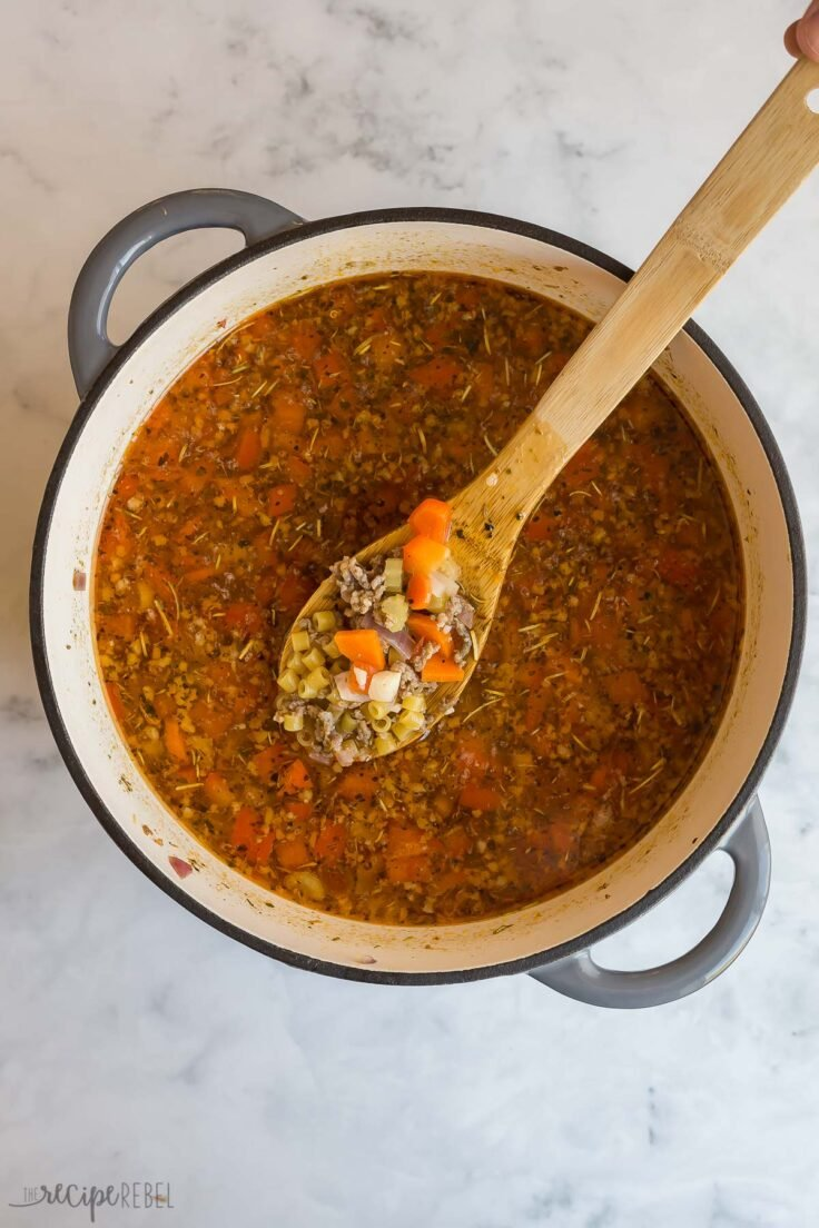 dry pasta added to italian sausage soup