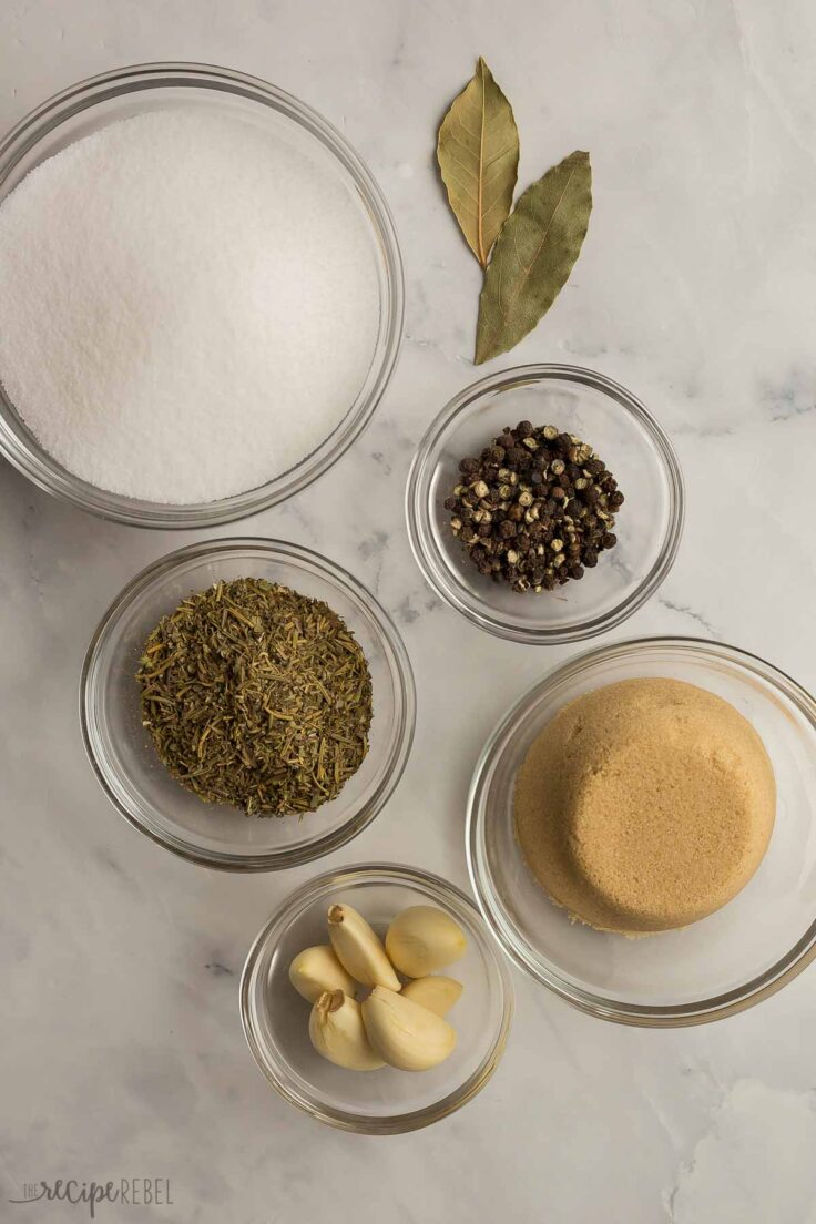 turkey brine ingredients measured out in small bowls